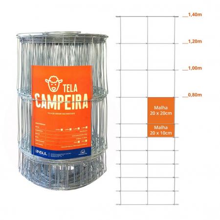 Tela Campeira Galvanizada Fio 2,30 e 2,10mm Rolo com 50m (campestre)